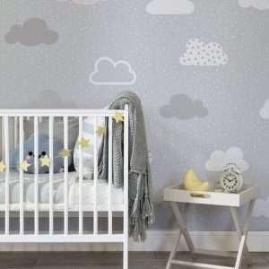 carta parati camerette bambini cloud