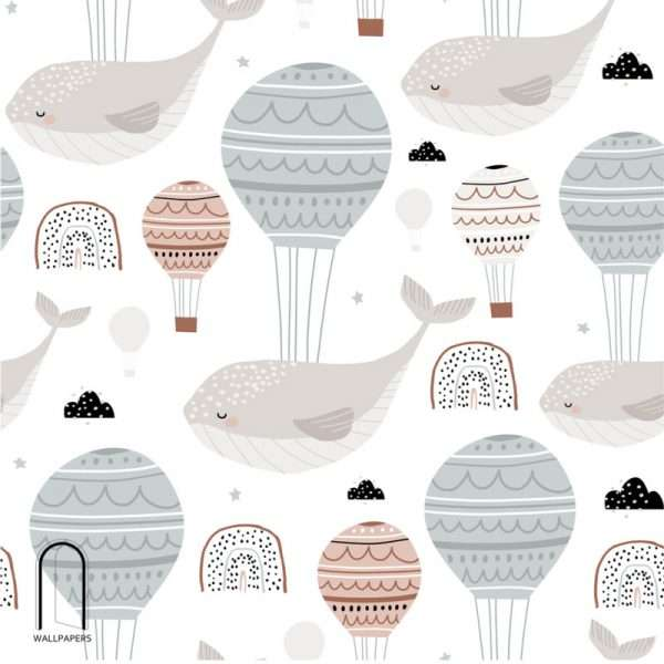 carta da parati per camerette balene e mongolfiere