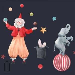 carta da parati per bambini clown e elefante