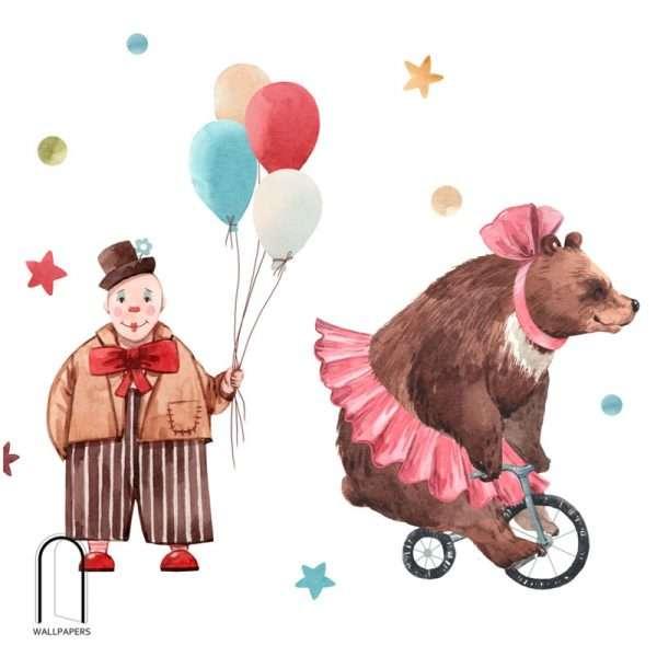 Carta da parati per bambini orso circus
