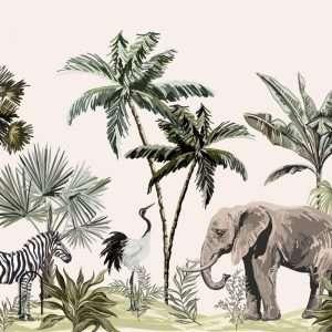 carta da parati Elefanti e zebre